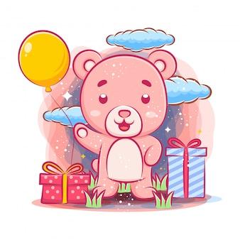 Feliz aniversário urso fofo celebração