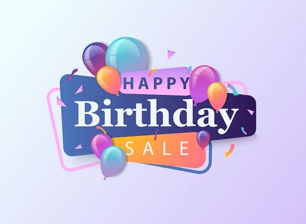 Feliz aniversário venda banner com balão, confetes e gradientes.