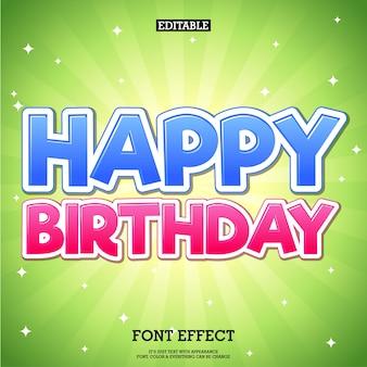Feliz aniversário vermelho e azul texto com fundo verde brilhante