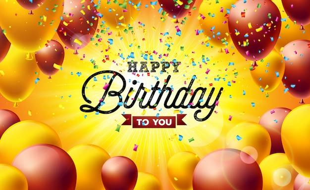 Feliz aniversário, vetorial, ilustração, com, balões