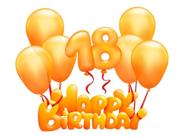Feliz aniversário voando balões de ouro. saudação de 18 anos
