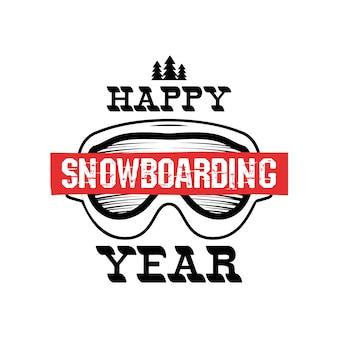 Feliz ano de snowboard - logotipo de snowboard.