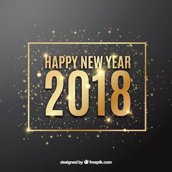 Feliz ano novo 2018 de fundo com brilhos dourados