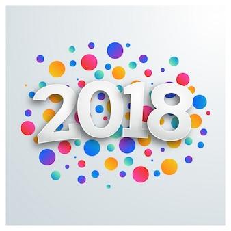 Feliz ano novo 2018 design geométrico colorido