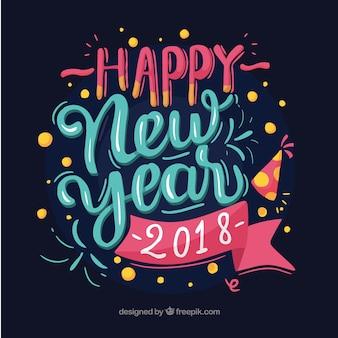 Feliz ano novo 2018 em letras azuis e cor-de-rosa