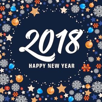 Feliz ano novo 2018 rotulagem e bolas