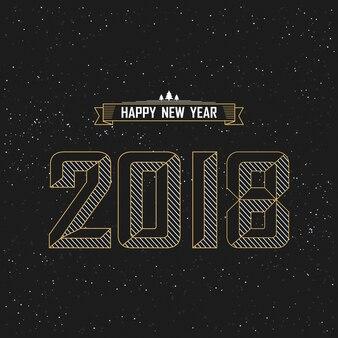 Feliz ano novo 2018 texto design com estrela e fundo preto.