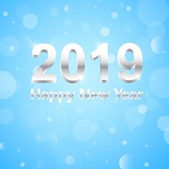 Feliz ano novo 2019 3d números de prata
