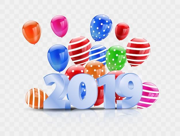 Feliz ano novo 2019, balões coloridos