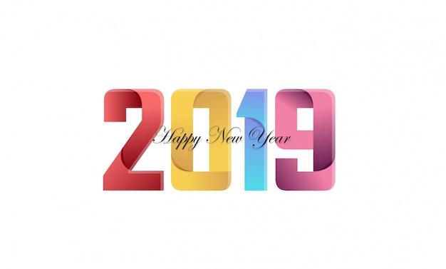 Feliz ano novo 2019 banner criativo com papel dobrado conceito em cores