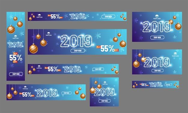 Feliz ano novo 2019 banner.