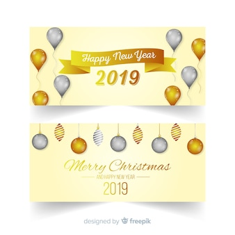 Feliz ano novo 2019 banners