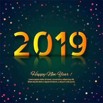 Feliz ano novo 2019 cartão celebração fundo colorido