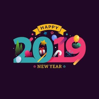 Feliz ano novo 2019 cartão comemorativo