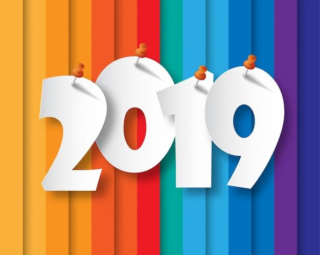 Feliz ano novo 2019. cartão de boas vindas. design colorido.