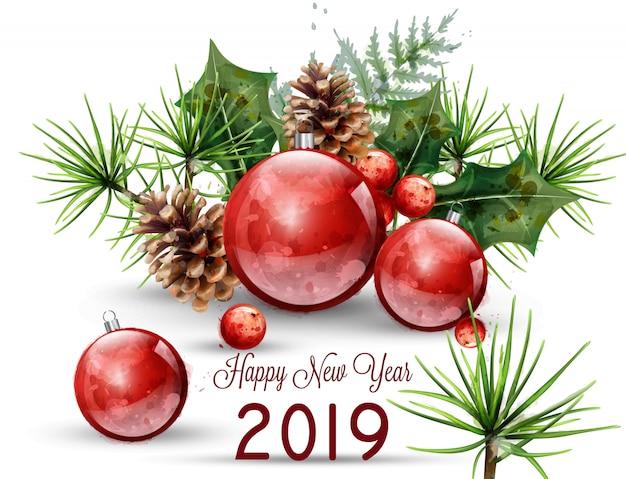 Feliz ano novo 2019 cartão em aquarela