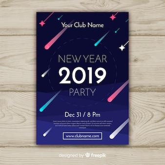 Feliz ano novo 2019 cartaz com cometas