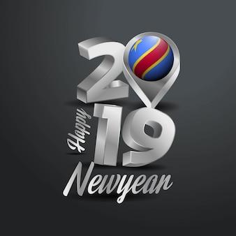Feliz ano novo 2019 cinza tipografia