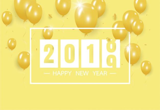 Feliz ano novo 2019 com balão amarelo criativo