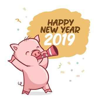 Feliz ano novo 2019 com caráter de porco