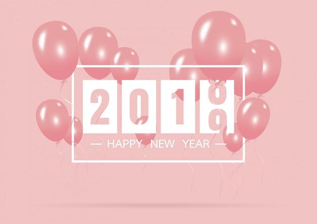 Feliz ano novo 2019 com conceito criativo balão rosa