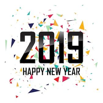 Feliz ano novo 2019 com fundo colorido de confete