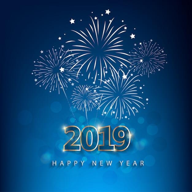 Feliz ano novo 2019 com fundo de fogos de artifício. chienese new year, ano do porco.