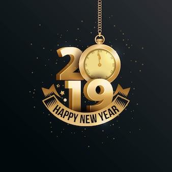 Feliz ano novo 2019 com número 3d de ouro