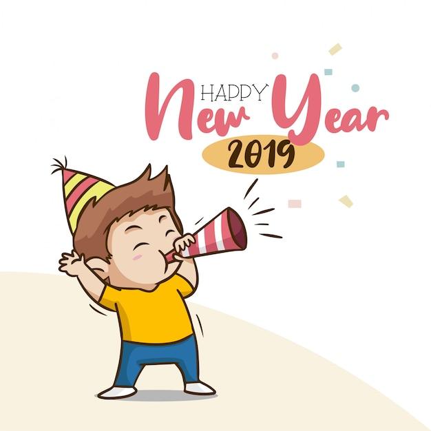 Feliz ano novo 2019 com personagem de menino