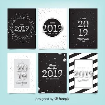 Feliz ano novo 2019 conjunto de cartões