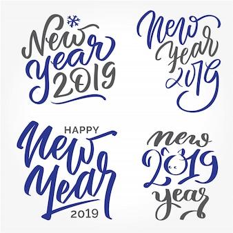 Feliz ano novo 2019 - conjunto de escritos à mão lettering