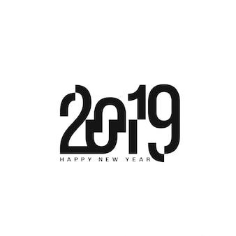 Feliz ano novo 2019 elegante texto design plano de fundo