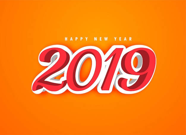 Feliz ano novo 2019 em estilo 3d