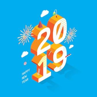 Feliz ano novo 2019_estilo isométrico