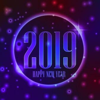 Feliz ano novo 2019 fundo com cor roxa e vermelha