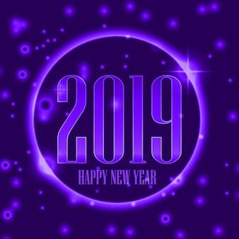 Feliz ano novo 2019 fundo com cor roxa