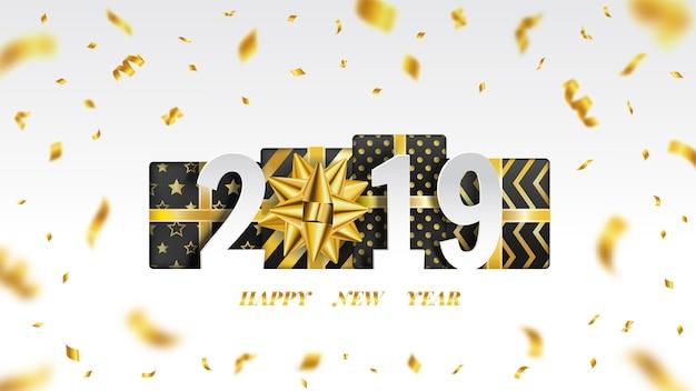 Feliz ano novo 2019 fundo com ouro fita voando.