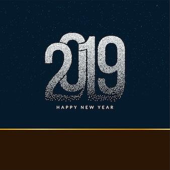 Feliz ano novo 2019 moderno fundo de texto pontilhado