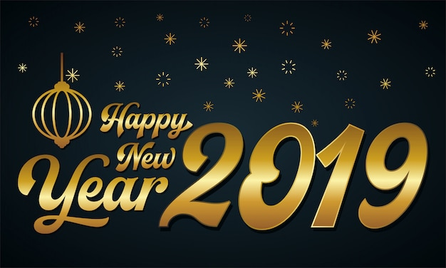 Feliz ano novo 2019 ouro e cores pretas. ilustração vetorial. isolado em uma backgro escuro
