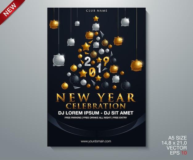 Feliz ano novo 2019 ouro e preto collors