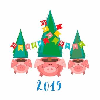 Feliz ano novo. 2019. potes de porco engraçado com árvores de natal.