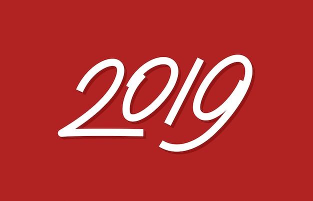 Feliz ano novo 2019 projeto de arte de linha de arte