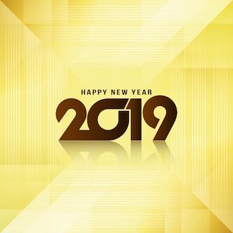 Feliz ano novo 2019 saudação elegante fundo brilhante