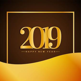 Feliz ano novo 2019 saudação elegante fundo
