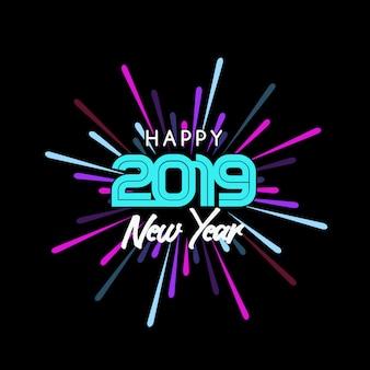 Feliz ano novo 2019 saudação fundo e fogos de artifício