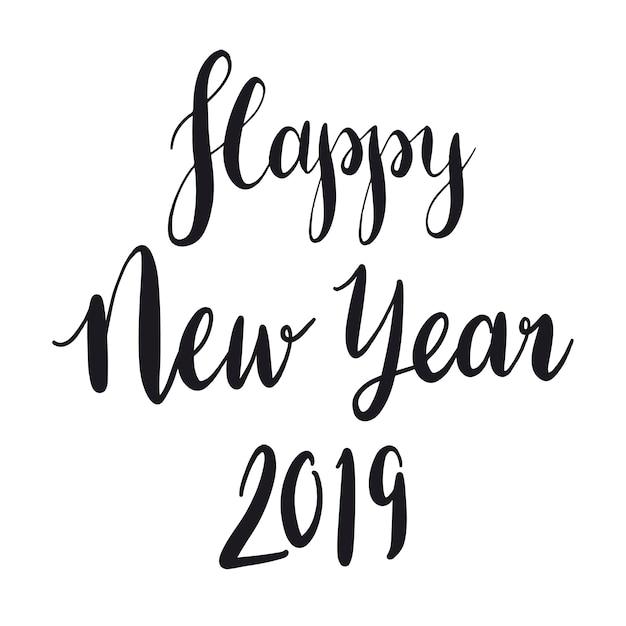 Feliz ano novo 2019 tipografia estilo vector