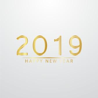 Feliz ano novo 2019 vector design dourado