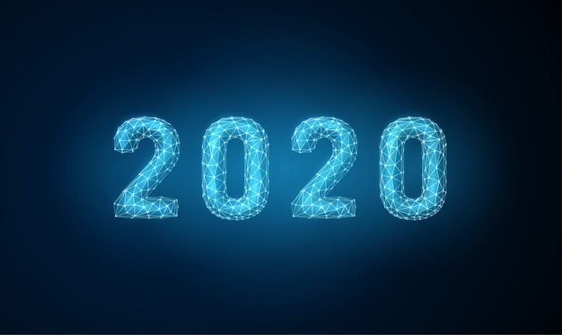 Feliz ano novo 2020 abstrato cartão com estilo futurista