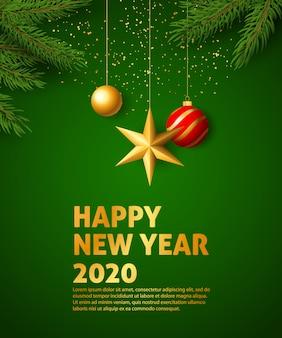 Feliz ano novo 2020 banner festivo