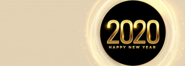 Feliz ano novo 2020 banner panorâmica
